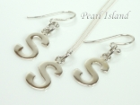 Sterling Silver Initial S Earring and Pendant Set