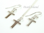 Sterling Silver Initial T Earring and Pendant Set