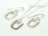 Sterling Silver Initial U Earring and Pendant Set