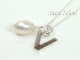 Sterling Silver Initial V Pendant Necklace