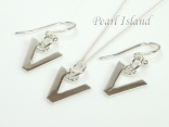 Sterling Silver Initial V Earring and Pendant Set