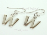 Sterling Silver Initial W Earrings