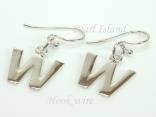 Sterling Silver Initial W Earrings