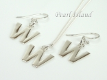 Sterling Silver Initial W Earring and Pendant Set