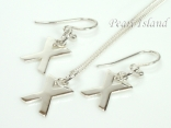 Sterling Silver Initial X Earring and Pendant Set