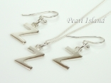 Sterling Silver Initial Z Earring and Pendant Set