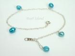 Ankle Bracelets - Blue Pearl & Sterling Silver Ankle Bracelet