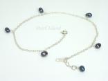Ankle Bracelets - Black Pearl & Sterling Silver Anklet