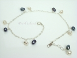 Pearl Ankle Bracelets - Sterling Silver Ankle Bracelet with White & Black Pearls