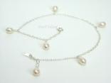 Ankle Bracelets - White Pearl & Sterling Silver Ankle Bracelet