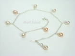 Anklets - White & Peach Pearl Sterling Silver Ankle Bracelet