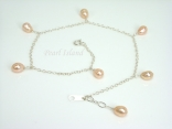 Ankle Bracelets - Peach Pearl & Sterling Silver Ankle Bracelet