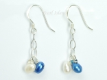 A Summer Treat - White Blue Oval Pearl Earrings 4x5mm
