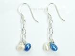 A Summer Treat - White Blue Oval Pearl Earrings 4x5mm