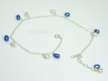Pearl Ankle Bracelets - Sterling Silver Ankle Bracelet with White & Blue Pearls