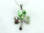 Clover Shamrock Pendant with Quality Sterling Silver Chain Necklace