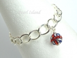GB Union Jack Flag Crystal Clap Ball Charm Silver Toggle Bracelet