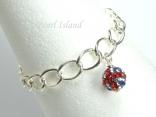 GB Union Jack Flag Crystal Clap Ball Charm Silver Toggle Bracelet