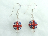 GB Union Jack Flag Crystal Clay Disco Ball Earrings