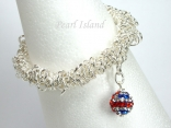 GB Union Jack Flag Crystal Clay Ball Charm Silver Elasticated Bracelet