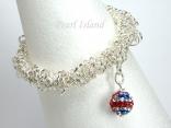 GB Union Jack Flag Crystal Clay Ball Charm Silver Elasticated Bracelet