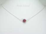 GB Union Jack Flag Crystal Clay Disco Ball Pendant Necklace