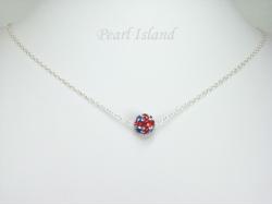 GB Union Jack Flag Crystal Clay Disco Ball Pendant Necklace