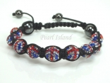 GB Union Jack Flag Crystal Clay Disco Ball Bracelet