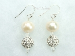 Dallas Collection - White Circlet Pearl & Crystal Earrings with Birthstones