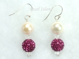Dallas Collection - White Circlet Pearl & Crystal Earrings with 12 colour choice