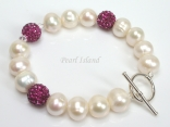 Dallas Collection - White Circlet Pearl & Crystal Bracelet with 12 colour choice