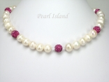 Dallas Collection - White Circlet Pearl & Crystal Necklace with 12 colour choice