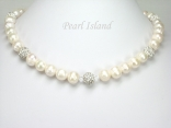 Dallas Collection - White Roundish Pearl & Crystal Necklace with Birthstones