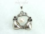 White Pearl and Silver Bra Necklace Pendant