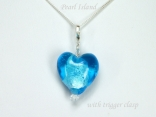 Blue Lampwork Glass Heart and Crystal Pendant