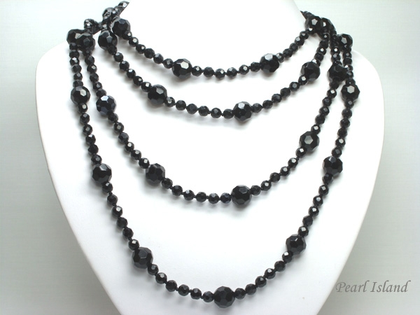 84 inch 214 cm black faceted chinese crystal long rope necklace. Black Bedroom Furniture Sets. Home Design Ideas