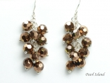 Sparkling Copper Faceted Crystal Earrings