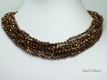 8-Row Sparkling Copper Faceted Chinese Crystal Necklace