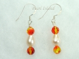 Swarovski Crystal Fireopal & White Pearl Earrings