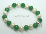 White Pearl & Jade Bracelet with Charm Carrier