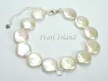 White Coin Pearl Bracelet with Charm Loop & Extension Chain