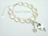 White Coin Pearl Bracelet with Charm Loop & Charms