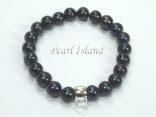 Black Roundish Pearl Bracelet with Charm Carrier