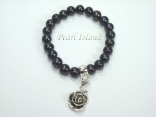 Black Roundish Pearl Bracelet with Flower Charm