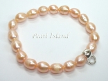 Peach Oval Pearl Bracelet with Charm Carrier