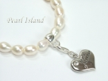 White Oval Pearl Bracelet with Maid of Honour Charm