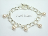 Silver Toggle Charm Bracelet with White Pearl Charms