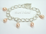 Silver Toggle Charm Bracelet with Peach Pearl Charms