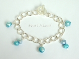 Silver Toggle Charm Bracelet with Blue Pearl Charms