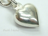 Clip on Charms - Sterling Silver Small Puff Heart Charm